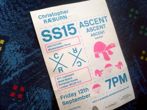 Christopher Raeburn LFW SS15 ticket