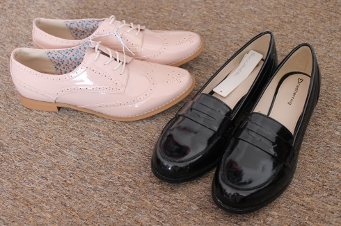 Debenhams Pale pink patent lace up brogues and Black patent loafers